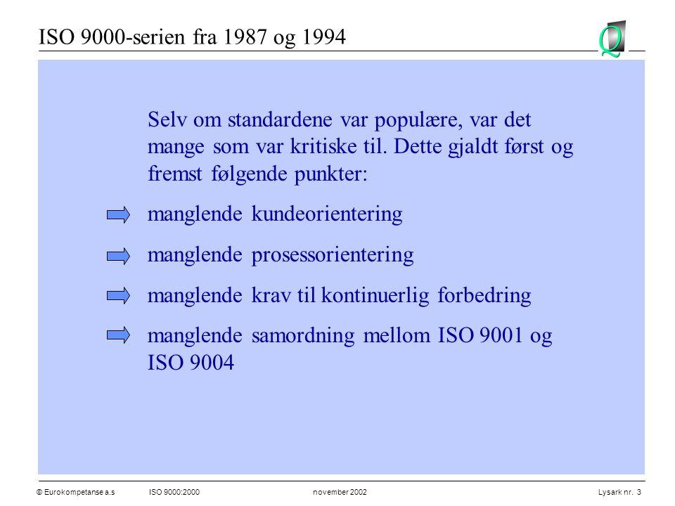 © Eurokompetanse a.sISO 9000:2000 november 2002 Lysark nr. 3 Selv om standardene var populære, var det mange som var kritiske til. Dette gjaldt først