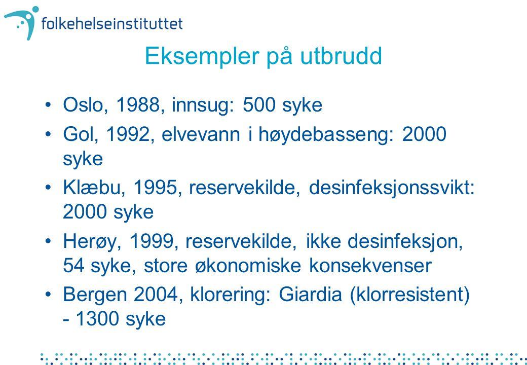 Eksempler på utbrudd •Oslo, 1988, innsug: 500 syke •Gol, 1992, elvevann i høydebasseng: 2000 syke •Klæbu, 1995, reservekilde, desinfeksjonssvikt: 2000 syke •Herøy, 1999, reservekilde, ikke desinfeksjon, 54 syke, store økonomiske konsekvenser •Bergen 2004, klorering: Giardia (klorresistent) - 1300 syke