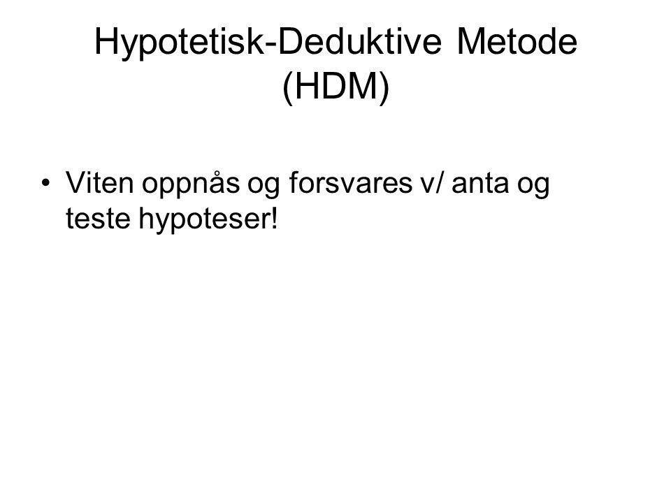 Hypotetisk-Deduktive Metode (HDM) •Viten oppnås og forsvares v/ anta og teste hypoteser!