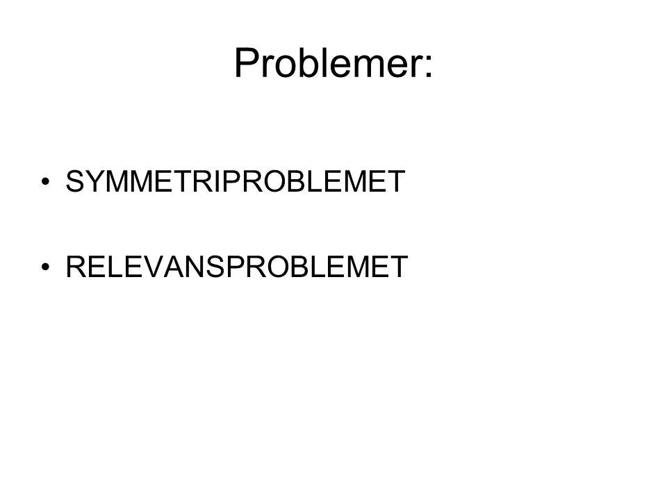 Problemer: •SYMMETRIPROBLEMET •RELEVANSPROBLEMET