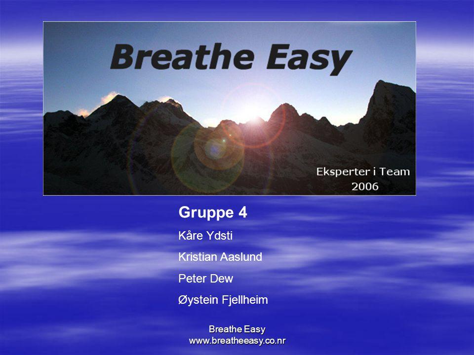 Breathe Easy www.breatheeasy.co.nr Gruppe 4 Kåre Ydsti Kristian Aaslund Peter Dew Øystein Fjellheim