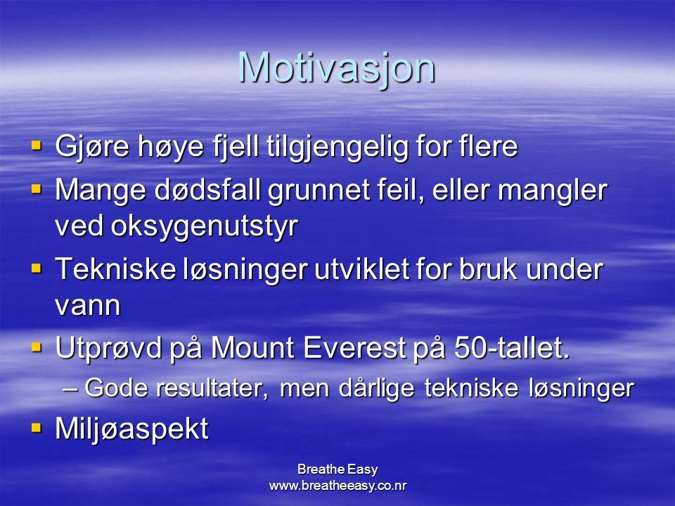 Breathe Easy www.breatheeasy.co.nr Motivasjon  Gjøre høye fjell tilgjengelig for flere  Mange dødsfall grunnet feil, eller mangler ved oksygenutstyr  Tekniske løsninger utviklet for bruk under vann  Utprøvd på Mount Everest på 50-tallet.