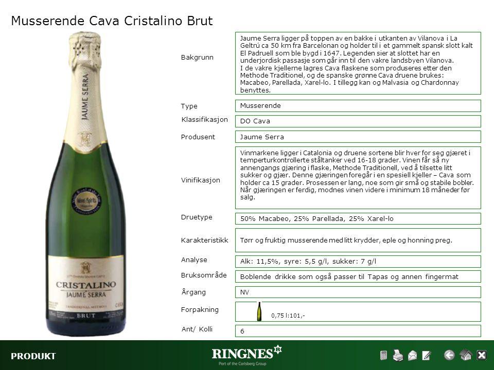 PRODUKT Musserende Cava Cristalino Brut Type Klassifikasjon Vinifikasjon Druetype Musserende DO Cava Bakgrunn Karakteristikk Analyse Bruksområde Jaume