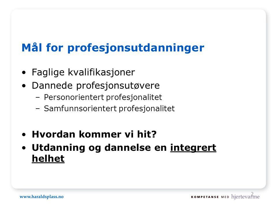 2 Mål for profesjonsutdanninger •Faglige kvalifikasjoner •Dannede profesjonsutøvere –Personorientert profesjonalitet –Samfunnsorientert profesjonalite