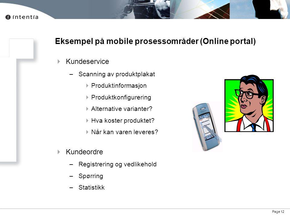 Page 12 Eksempel på mobile prosessområder (Online portal)  Kundeservice –Scanning av produktplakat  Produktinformasjon  Produktkonfigurering  Alte