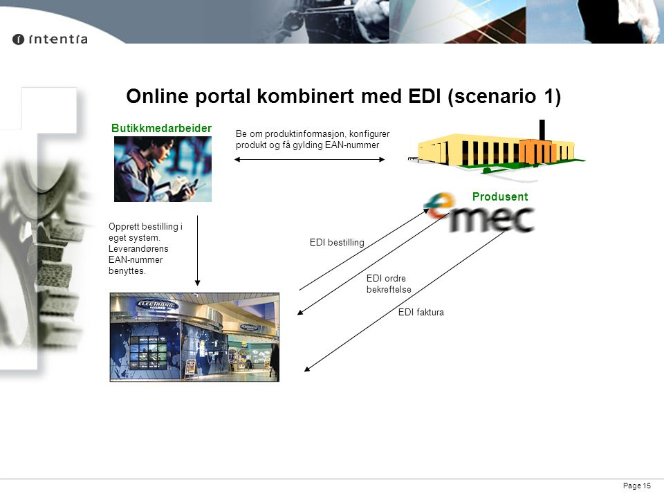 Page 15 Online portal kombinert med EDI (scenario 1) Produsent Be om produktinformasjon, konfigurer produkt og få gylding EAN-nummer Opprett bestillin