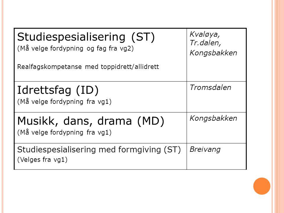 Studiespesialisering (ST) (Må velge fordypning og fag fra vg2) Realfagskompetanse med toppidrett/allidrett Kvaløya, Tr.dalen, Kongsbakken Idrettsfag (
