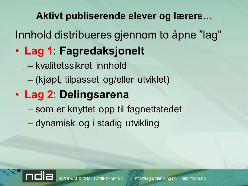 NASJONAL DIGITAL LÆRINGSARENA http://fag.utdanning.no http://ndla.no Aktivt publiserende elever og lærere… Innhold distribueres gjennom to åpne lag •Lag 1: Fagredaksjonelt –kvalitetssikret innhold –(kjøpt, tilpasset og/eller utviklet) •Lag 2: Delingsarena –som er knyttet opp til fagnettstedet –dynamisk og i stadig utvikling