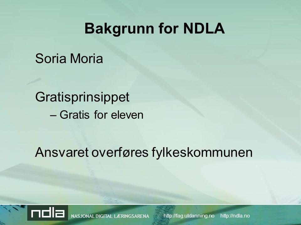 NASJONAL DIGITAL LÆRINGSARENA http://fag.utdanning.no http://ndla.no Bakgrunn for NDLA Soria Moria Gratisprinsippet –Gratis for eleven Ansvaret overføres fylkeskommunen