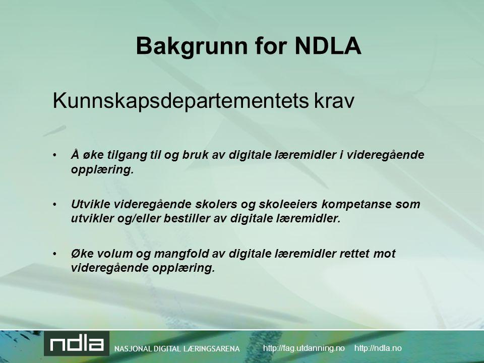 NASJONAL DIGITAL LÆRINGSARENA http://fag.utdanning.no http://ndla.no Bakgrunn for NDLA Kunnskapsdepartementets krav •Å øke tilgang til og bruk av digitale læremidler i videregående opplæring.