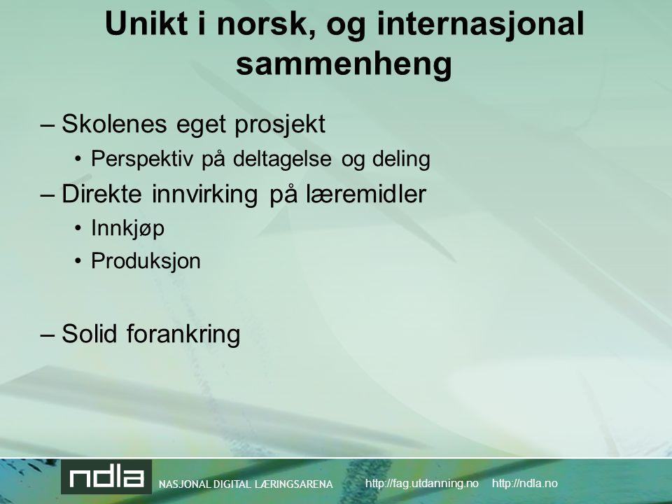 NASJONAL DIGITAL LÆRINGSARENA http://fag.utdanning.no http://ndla.no NDLA sitt mandat til nå: –Helse- og sosialfag vg1 –Norsk vg1 –Naturfag vg1