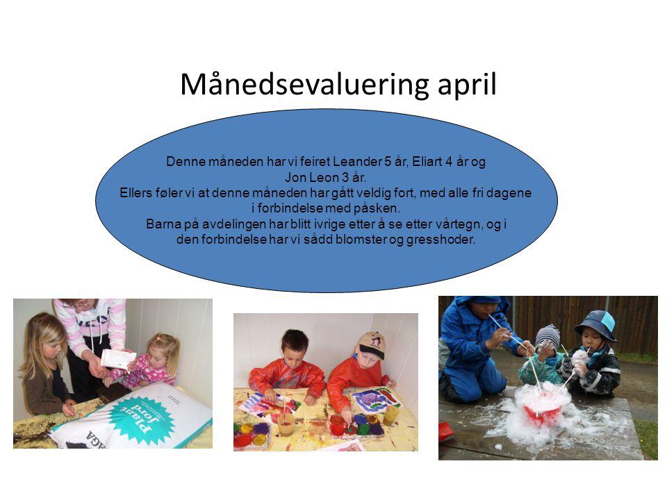 Månedsevaluering april Denne måneden har vi feiret Leander 5 år, Eliart 4 år og Jon Leon 3 år. Ellers føler vi at denne måneden har gått veldig fort,