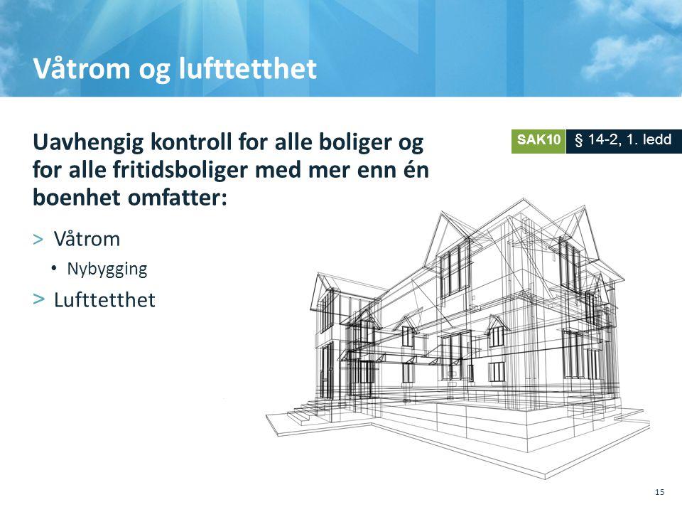 Våtrom og lufttetthet Uavhengig kontroll for alle boliger og for alle fritidsboliger med mer enn én boenhet omfatter: >Våtrom • Nybygging >Lufttetthe