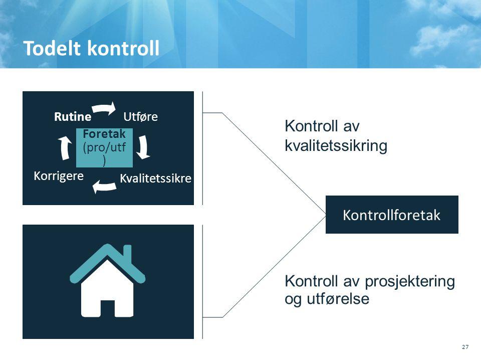 Todelt kontroll 27 Kontroll av kvalitetssikring Kontroll av prosjektering og utførelse Kontrollforetak Foretak (pro/utf ) Utføre Kvalitetssikre Korrig