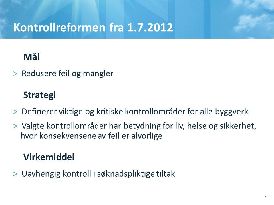 Kontrollreformen fra 1.7.2012 5 Mål >Redusere feil og mangler Strategi >Definerer viktige og kritiske kontrollområder for alle byggverk >Valgte kont