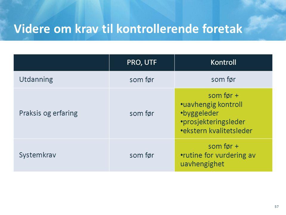 Videre om krav til kontrollerende foretak 57 PRO, UTFKontroll Utdanningsom før Praksis og erfaringsom før som før + • uavhengig kontroll • byggeleder