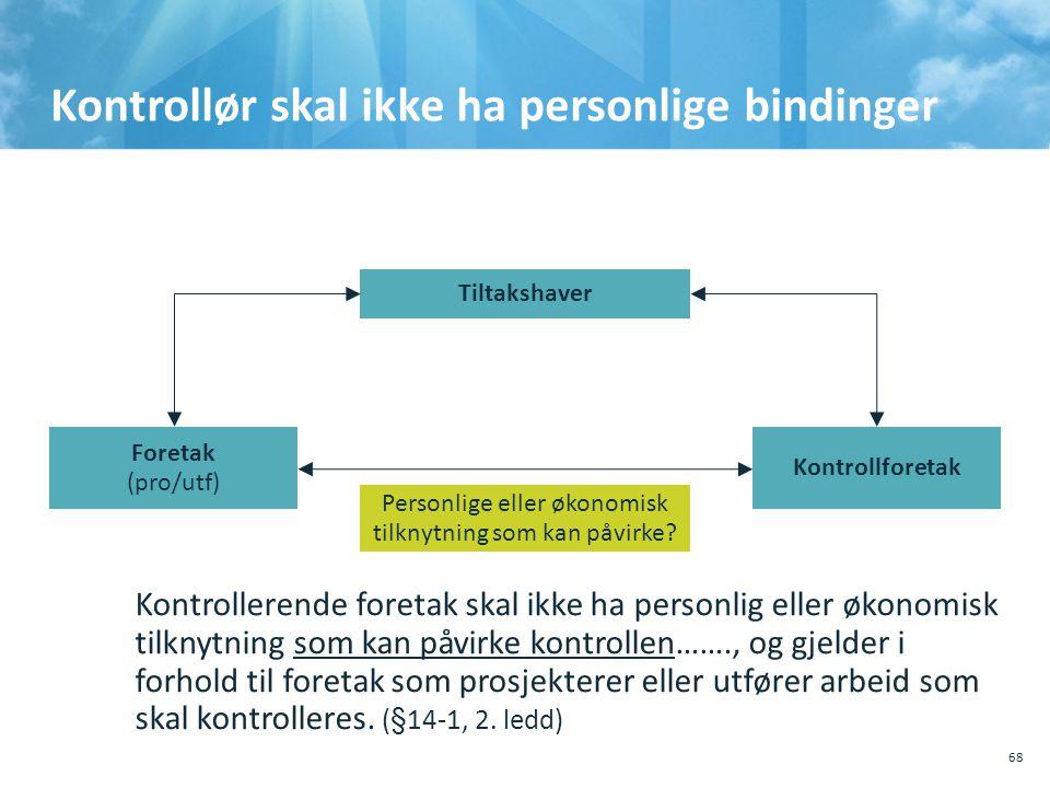 Kontrollør skal ikke ha personlige bindinger 68 Kontrollerende foretak skal ikke ha personlig eller økonomisk tilknytning som kan påvirke kontrollen…