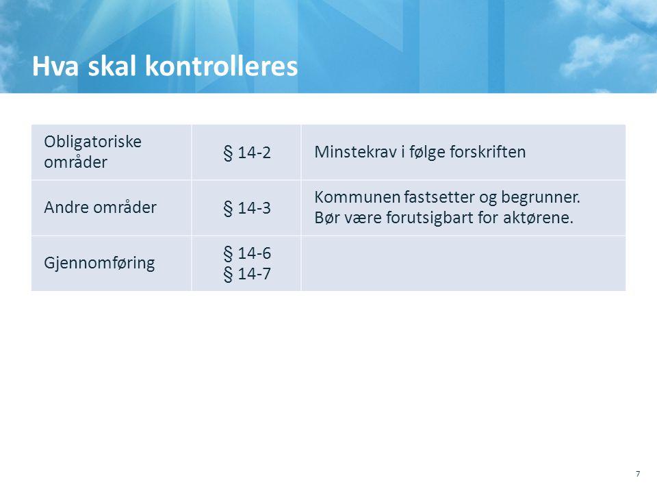 Hva skal kontrolleres 7 Obligatoriske områder § 14-2Minstekrav i følge forskriften Andre områder§ 14-3 Kommunen fastsetter og begrunner. Bør være foru