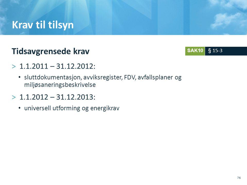 Krav til tilsyn Tidsavgrensede krav >1.1.2011 – 31.12.2012: • sluttdokumentasjon, avviksregister, FDV, avfallsplaner og miljøsaneringsbeskrivelse >1.