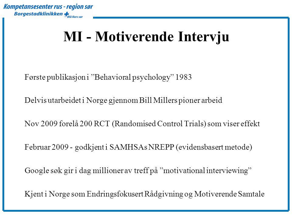"""MI - Motiverende Intervju Første publikasjon i """"Behavioral psychology"""" 1983 Delvis utarbeidet i Norge gjennom Bill Millers pioner arbeid Nov 2009 fore"""