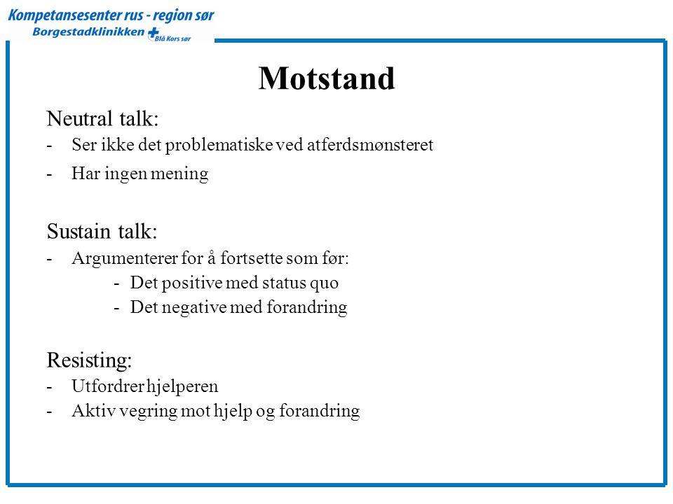 Motstand Neutral talk: -Ser ikke det problematiske ved atferdsmønsteret -Har ingen mening Sustain talk: -Argumenterer for å fortsette som før: -Det po