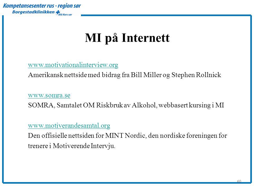 60 MI på Internett www.motivationalinterview.org Amerikansk nettside med bidrag fra Bill Miller og Stephen Rollnick www.somra.se SOMRA, Samtalet OM Ri