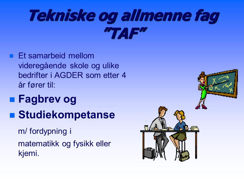"""Tekniske og allmenne fag """"TAF"""" n n Et samarbeid mellom videregående skole og ulike bedrifter i AGDER som etter 4 år fører til: n n Fagbrev og n n Stud"""