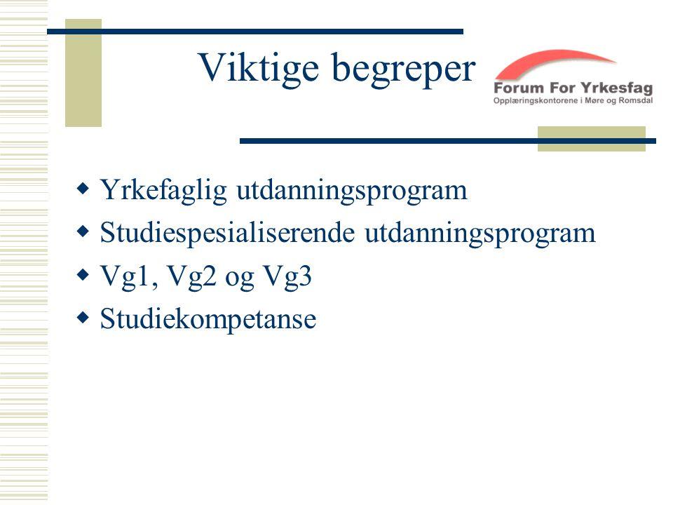 Viktige begreper  Yrkefaglig utdanningsprogram  Studiespesialiserende utdanningsprogram  Vg1, Vg2 og Vg3  Studiekompetanse