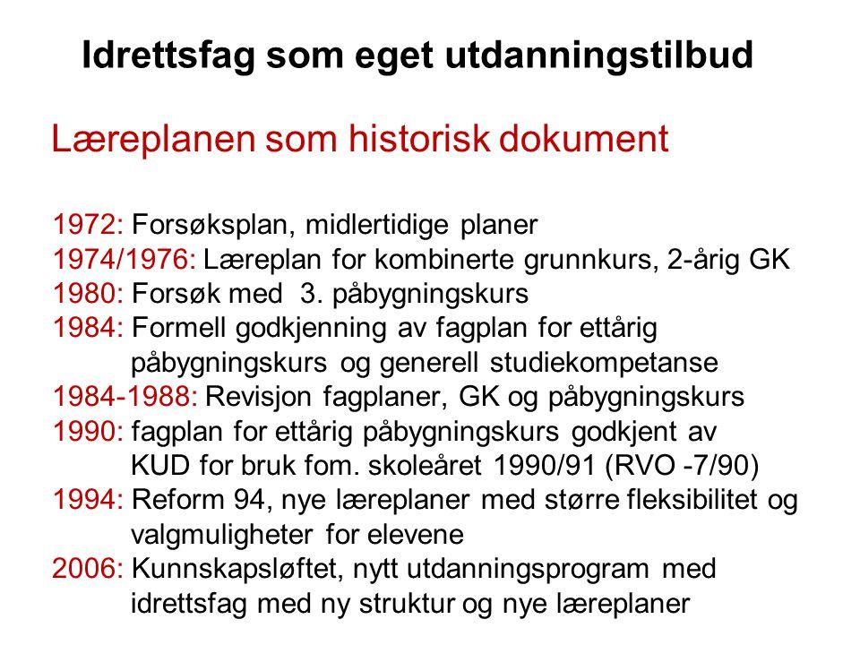 Idrettsfag som eget utdanningstilbud Læreplanen som historisk dokument 1972: Forsøksplan, midlertidige planer 1974/1976: Læreplan for kombinerte grunn