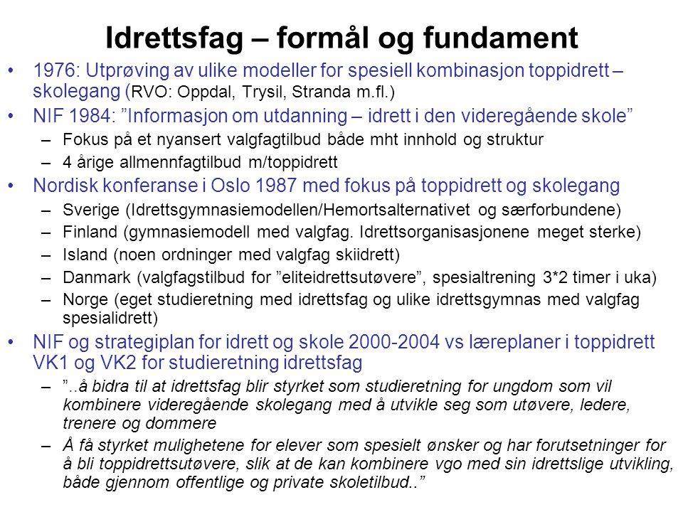 Idrettsfag – formål og fundament •1976: Utprøving av ulike modeller for spesiell kombinasjon toppidrett – skolegang ( RVO: Oppdal, Trysil, Stranda m.f