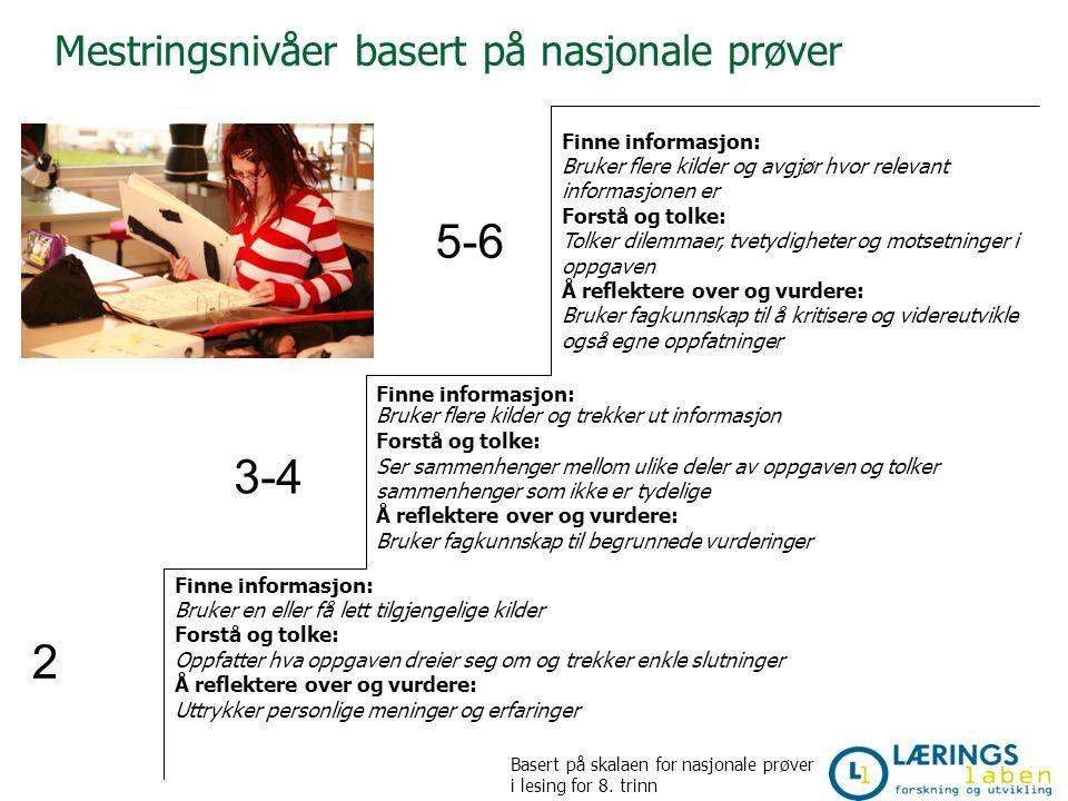Mestringsnivåer basert på nasjonale prøver 5-6 3-4 2 Finne informasjon: Bruker flere kilder og trekker ut informasjon Forstå og tolke: Ser sammenhenge