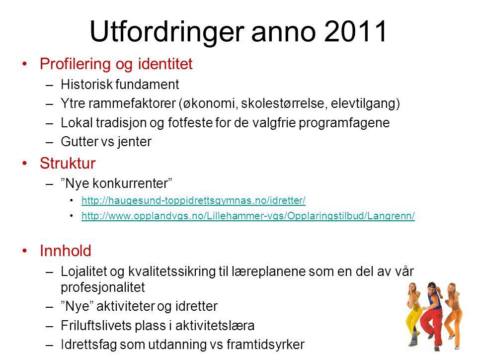 Utfordringer anno 2011 •Profilering og identitet –Historisk fundament –Ytre rammefaktorer (økonomi, skolestørrelse, elevtilgang) –Lokal tradisjon og f
