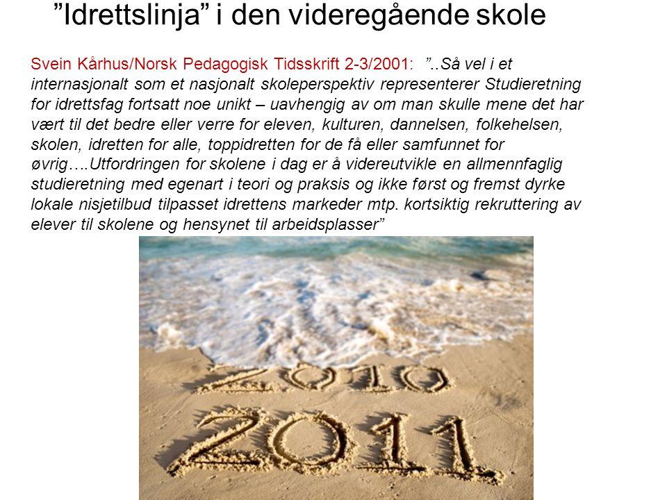 """""""Idrettslinja"""" i den videregående skole Svein Kårhus/Norsk Pedagogisk Tidsskrift 2-3/2001: """"..Så vel i et internasjonalt som et nasjonalt skoleperspek"""