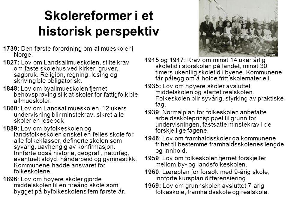 Skolereformer i et historisk perspektiv 1739: Den første forordning om allmueskoler i Norge. 1827: Lov om Landsallmueskolen, stilte krav om faste skol