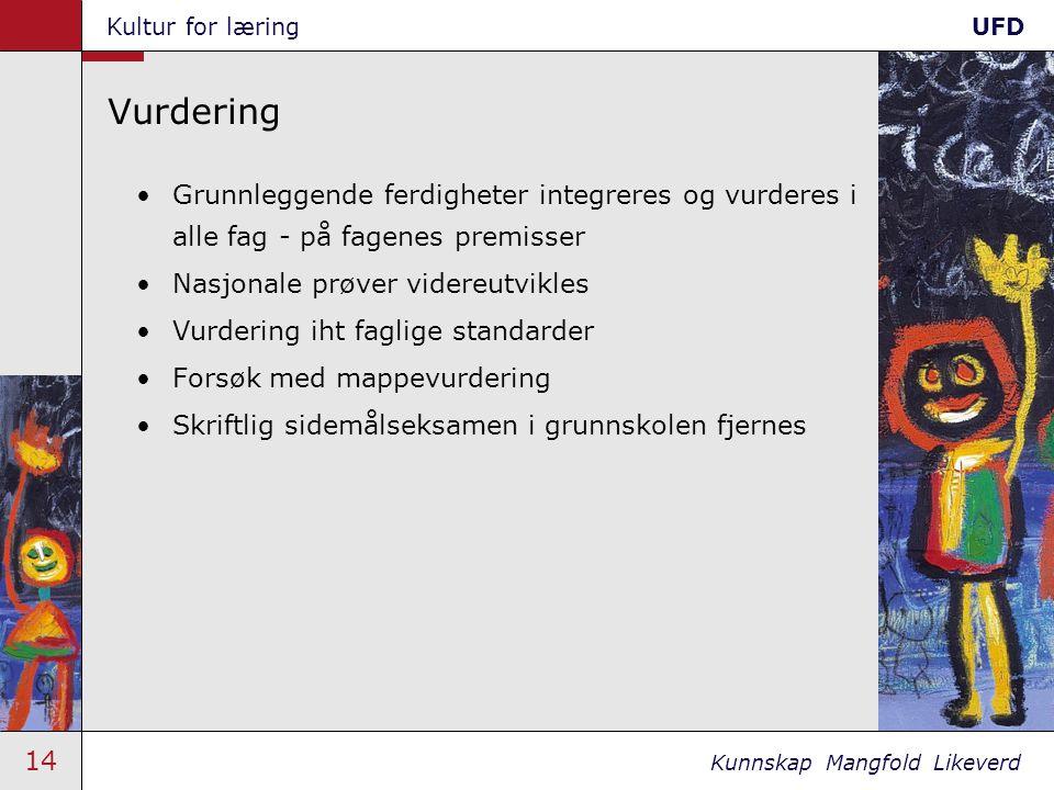 14 Kunnskap Mangfold Likeverd Kultur for læringUFD Vurdering •Grunnleggende ferdigheter integreres og vurderes i alle fag - på fagenes premisser •Nasj