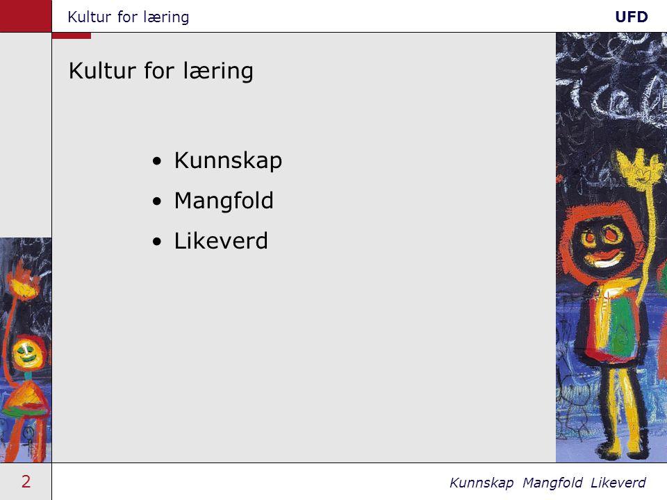 2 Kunnskap Mangfold Likeverd Kultur for læringUFD Kultur for læring •Kunnskap •Mangfold •Likeverd
