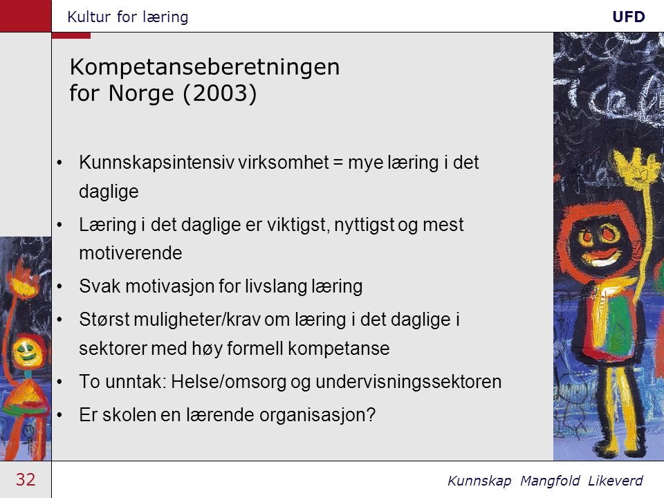 32 Kunnskap Mangfold Likeverd Kultur for læringUFD Kompetanseberetningen for Norge (2003) •Kunnskapsintensiv virksomhet = mye læring i det daglige •Læ