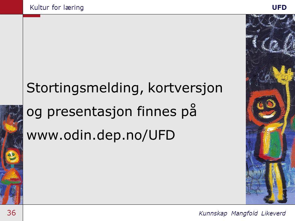 36 Kunnskap Mangfold Likeverd Kultur for læringUFD Stortingsmelding, kortversjon og presentasjon finnes på www.odin.dep.no/UFD