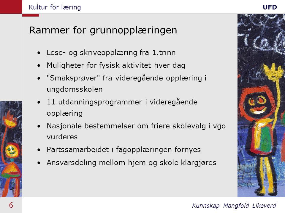 7 Kunnskap Mangfold Likeverd Kultur for læringUFD Skoleplakaten Skolen og lærebedriften skal: 1.