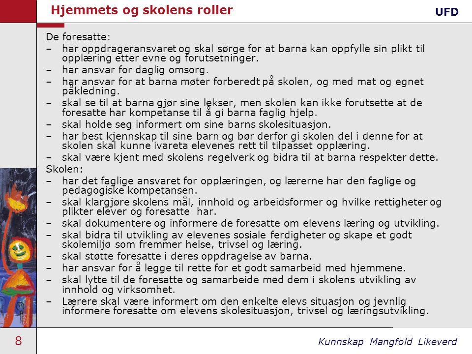 9 Kunnskap Mangfold Likeverd Kultur for læringUFD Eleven •Ansvar vs.