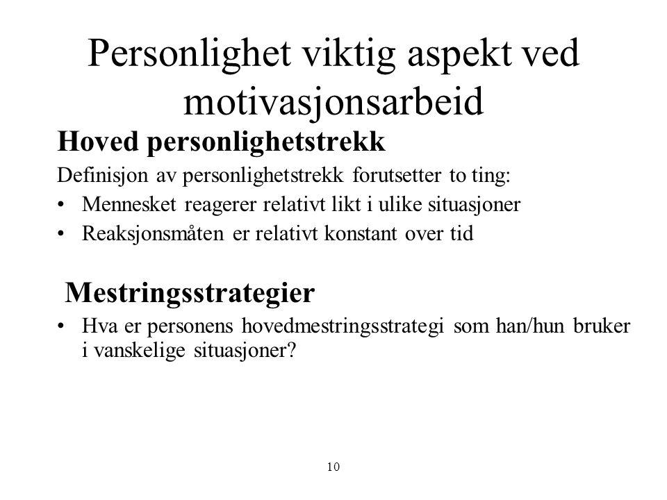 10 Personlighet viktig aspekt ved motivasjonsarbeid Hoved personlighetstrekk Definisjon av personlighetstrekk forutsetter to ting: •Mennesket reagerer
