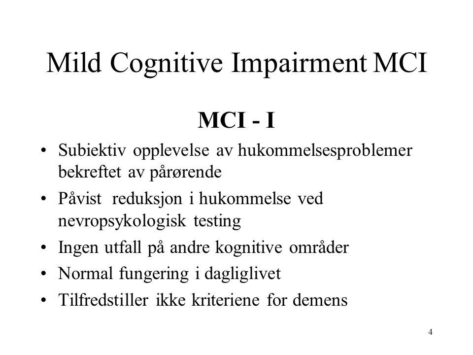 4 Mild Cognitive Impairment MCI MCI - I •Subiektiv opplevelse av hukommelsesproblemer bekreftet av pårørende •Påvist reduksjon i hukommelse ved nevrop