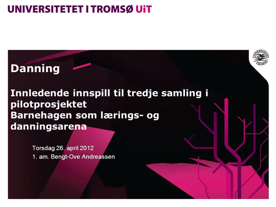 Danning Innledende innspill til tredje samling i pilotprosjektet Barnehagen som lærings- og danningsarena Torsdag 26. april 2012 1. am. Bengt-Ove Andr