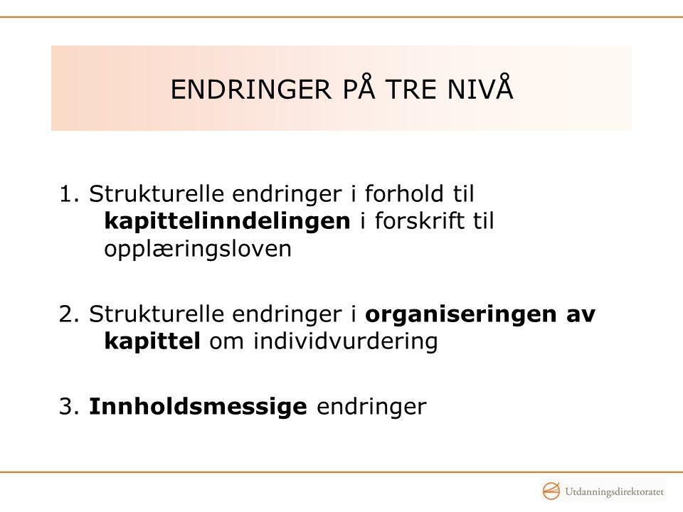 ENDRINGER PÅ TRE NIVÅ 1.