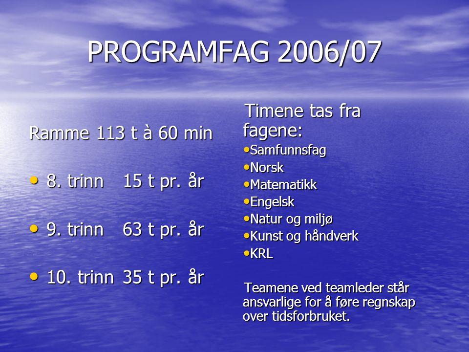 PROGRAMFAG 2006/07 Ramme 113 t à 60 min • 8. trinn 15 t pr. år • 9. trinn63 t pr. år • 10. trinn35 t pr. år Timene tas fra fagene: • Samfunnsfag • Nor