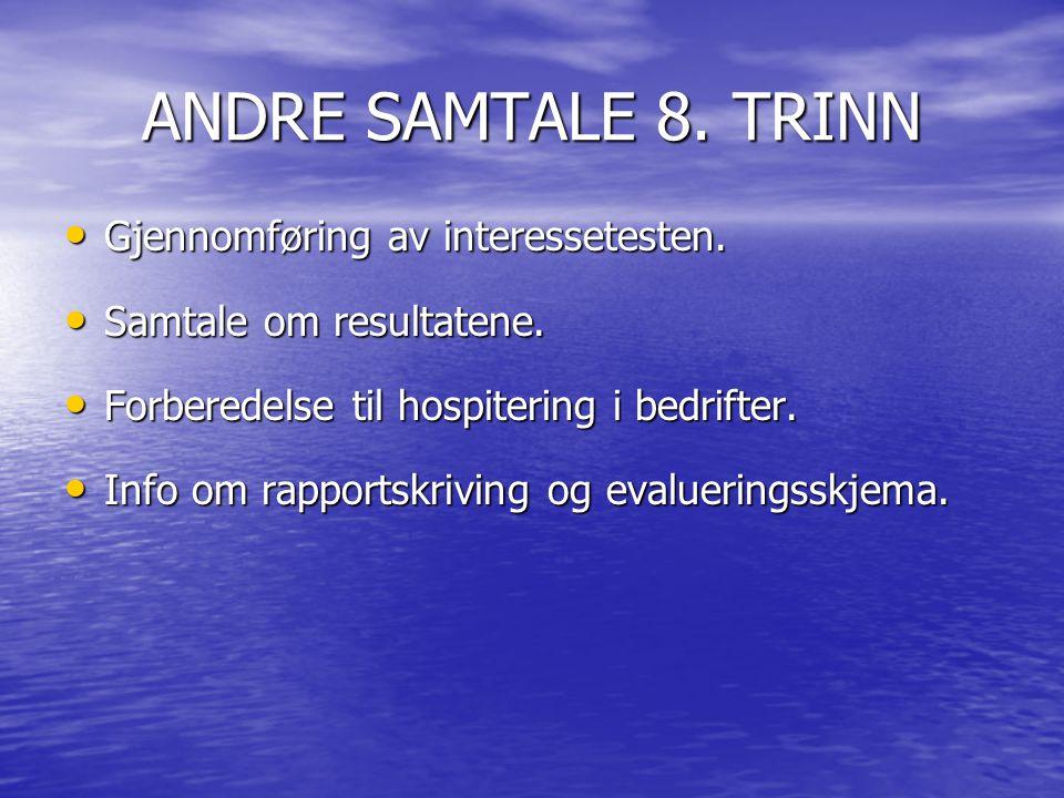 ANDRE SAMTALE 8.TRINN • Gjennomføring av interessetesten.