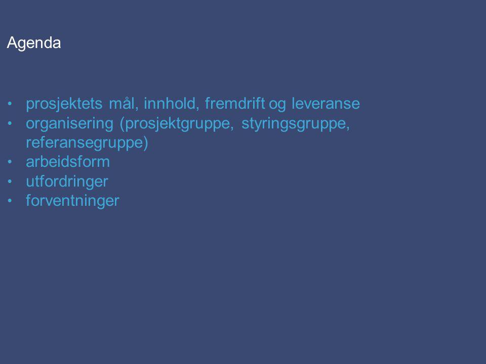 Agenda • prosjektets mål, innhold, fremdrift og leveranse • organisering (prosjektgruppe, styringsgruppe, referansegruppe) • arbeidsform • utfordringer • forventninger
