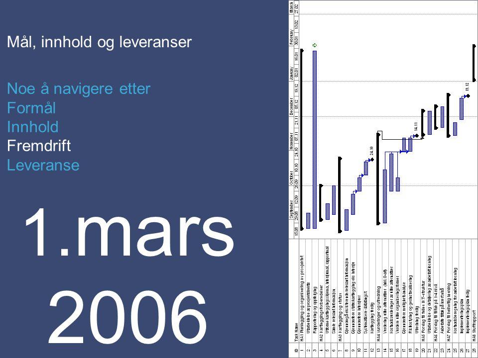 Mål, innhold og leveranser Noe å navigere etter Formål Innhold Fremdrift Leveranse 1. mars 2006