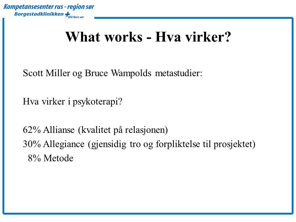 What works - Hva virker.Scott Miller og Bruce Wampolds metastudier: Hva virker i psykoterapi.
