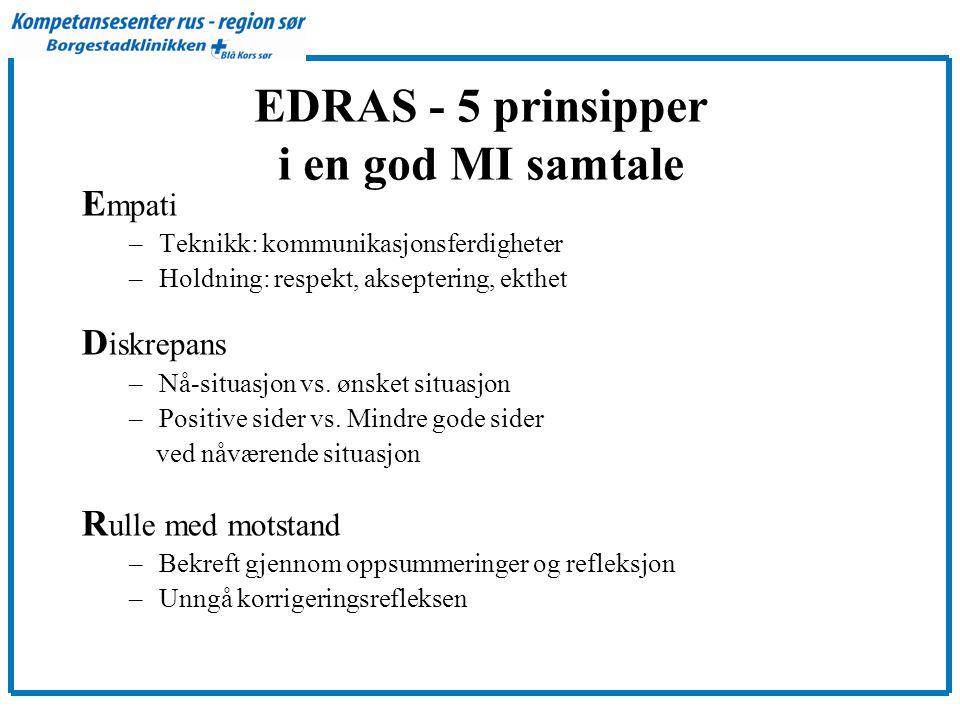EDRAS - 5 prinsipper i en god MI samtale E mpati –Teknikk: kommunikasjonsferdigheter –Holdning: respekt, akseptering, ekthet D iskrepans –Nå-situasjon vs.